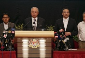 Malaysian Prime Minister Najib Razak at a press conference