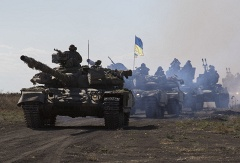 Ukrainian tanks near Mariupol, Donetsk region
