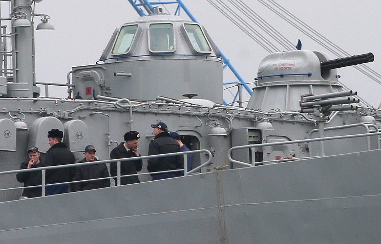 "Servicemen smoking onboard Ukrainian Navy command and control ship ""Slavutych"""