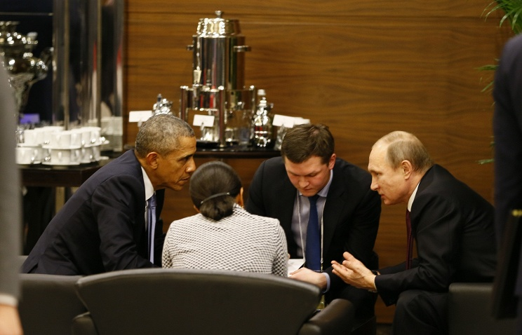 US and Russian presidents Barack Obama and Vladimir Putin prior to the opening session of the G20 summit in Antalya